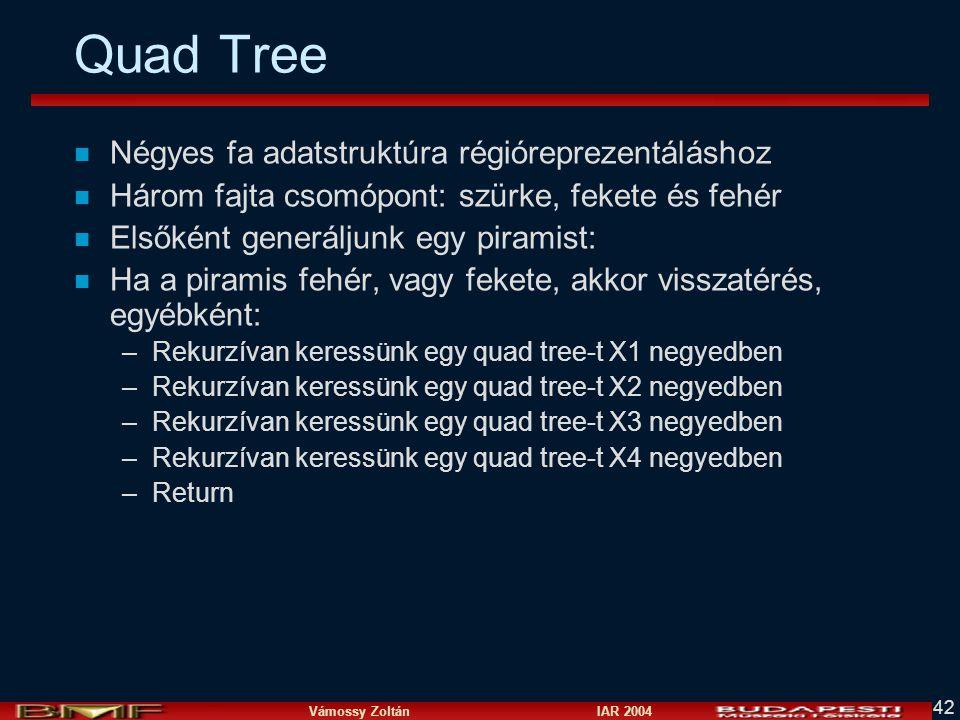Vámossy Zoltán IAR 2004 42 Quad Tree n Négyes fa adatstruktúra régióreprezentáláshoz n Három fajta csomópont: szürke, fekete és fehér n Elsőként generáljunk egy piramist: n Ha a piramis fehér, vagy fekete, akkor visszatérés, egyébként: –Rekurzívan keressünk egy quad tree-t X1 negyedben –Rekurzívan keressünk egy quad tree-t X2 negyedben –Rekurzívan keressünk egy quad tree-t X3 negyedben –Rekurzívan keressünk egy quad tree-t X4 negyedben –Return