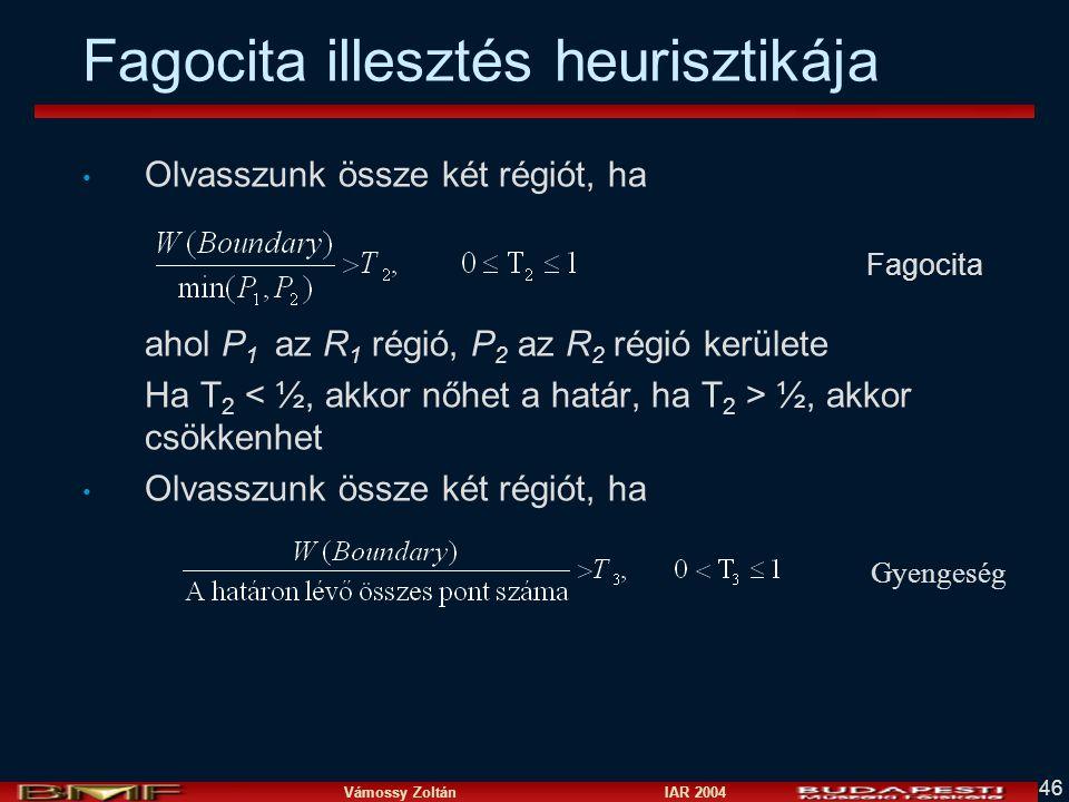Vámossy Zoltán IAR 2004 46 Fagocita illesztés heurisztikája Olvasszunk össze két régiót, ha ahol P 1 az R 1 régió, P 2 az R 2 régió kerülete Ha T 2 ½, akkor csökkenhet Olvasszunk össze két régiót, ha Fagocita Gyengeség