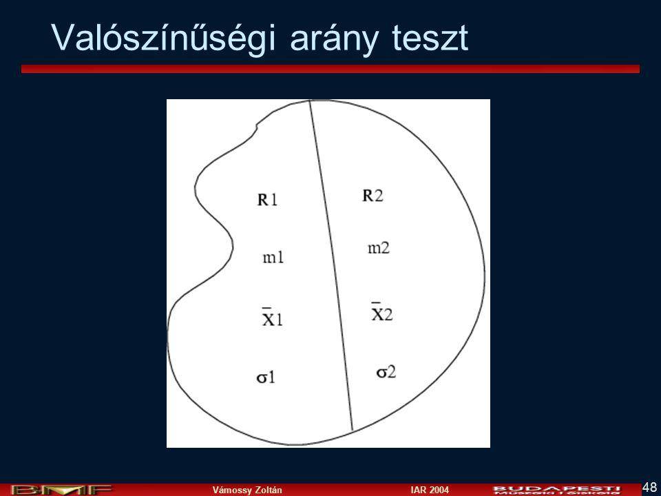 Vámossy Zoltán IAR 2004 48 Valószínűségi arány teszt