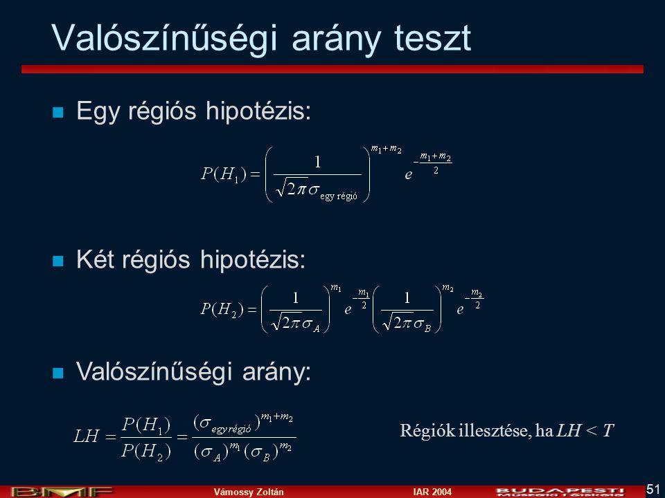 Vámossy Zoltán IAR 2004 51 n Egy régiós hipotézis: n Két régiós hipotézis: n Valószínűségi arány: Valószínűségi arány teszt Régiók illesztése, ha LH < T
