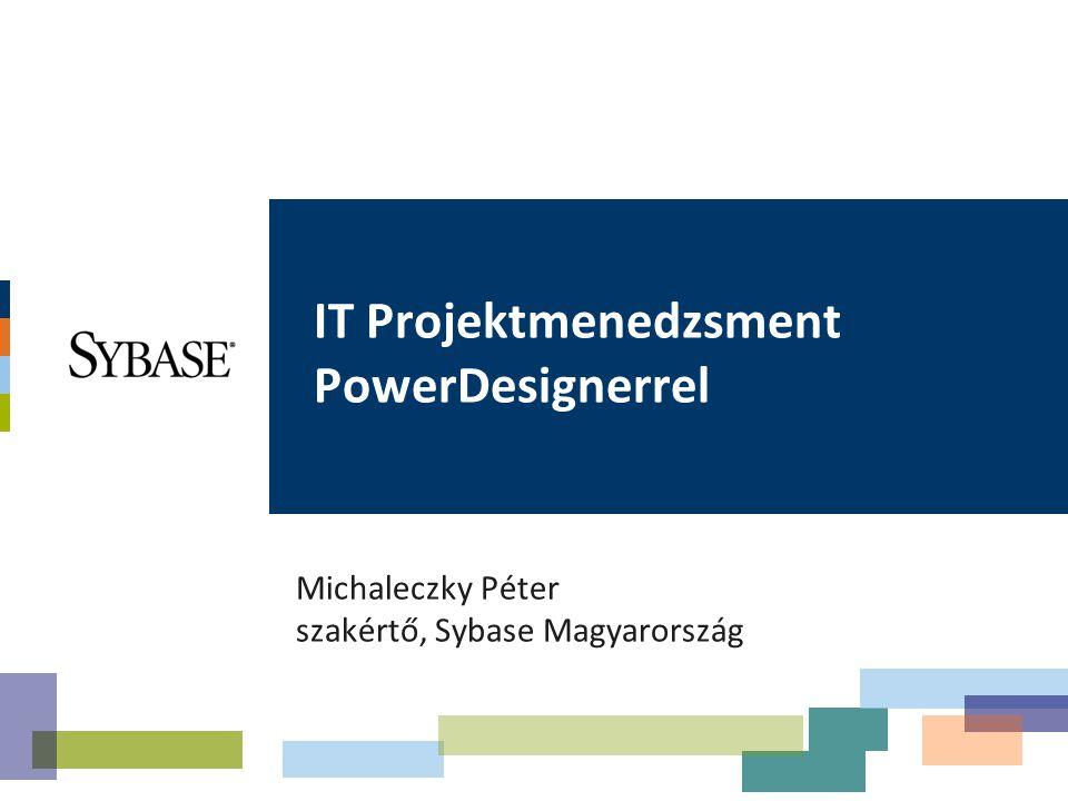 Témakörök Tervezés vállalati szinten PowerDesignerrel Projektminőség biztosítása Agilis tervezés és fejlesztés A PowerDesigner használata a projekt-életciklus során –Projektelőkészítés –Tervezés –Fejlesztés –Tesztelés –Követés Enterprise Architecture Modell