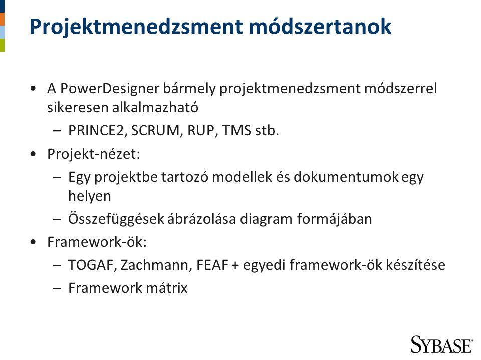 Projektmenedzsment módszertanok A PowerDesigner bármely projektmenedzsment módszerrel sikeresen alkalmazható –PRINCE2, SCRUM, RUP, TMS stb. Projekt-né