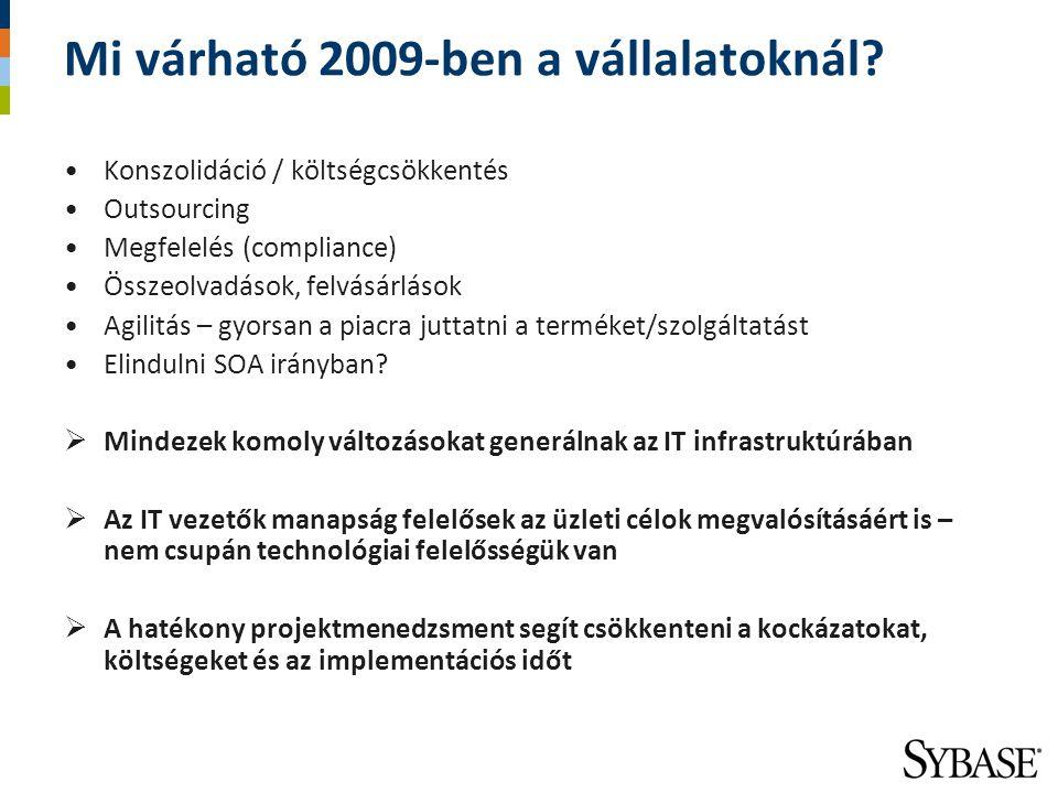 Mi várható 2009-ben a vállalatoknál? Konszolidáció / költségcsökkentés Outsourcing Megfelelés (compliance) Összeolvadások, felvásárlások Agilitás – gy