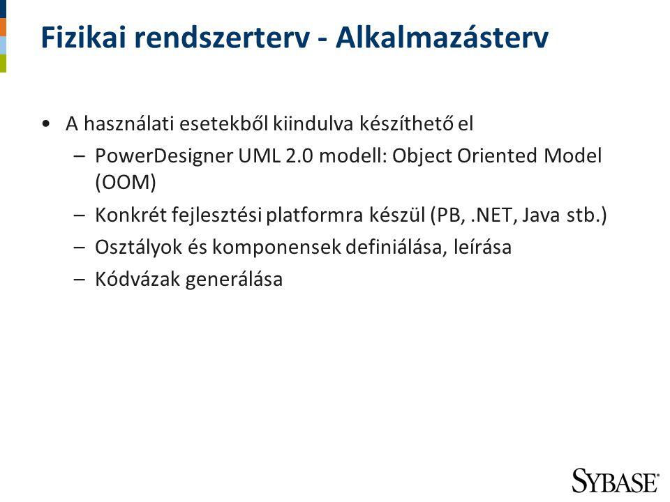 Fizikai rendszerterv - Alkalmazásterv A használati esetekből kiindulva készíthető el –PowerDesigner UML 2.0 modell: Object Oriented Model (OOM) –Konkr