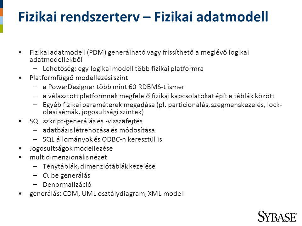Fizikai rendszerterv – Fizikai adatmodell Fizikai adatmodell (PDM) generálható vagy frissíthető a meglévő logikai adatmodellekből –Lehetőség: egy logi