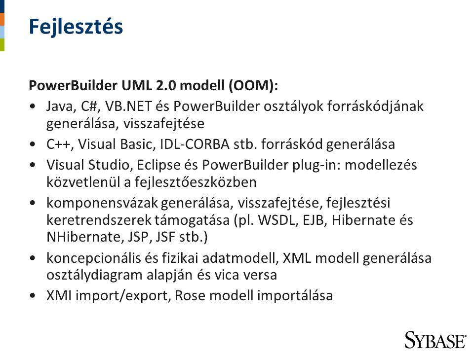 Fejlesztés PowerBuilder UML 2.0 modell (OOM): Java, C#, VB.NET és PowerBuilder osztályok forráskódjának generálása, visszafejtése C++, Visual Basic, I