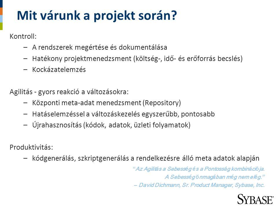 Mit várunk a projekt során? Kontroll: –A rendszerek megértése és dokumentálása –Hatékony projektmenedzsment (költség-, idő- és erőforrás becslés) –Koc