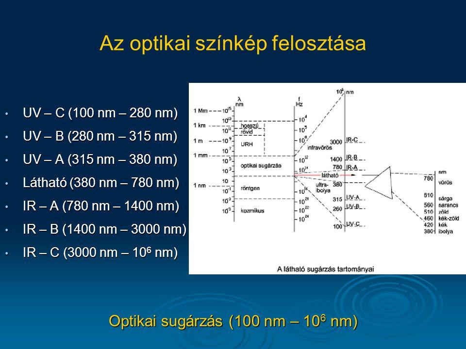 Adaptáció 10 11 -10 16 nagyságrend átfogás fénysűrűségben Pupilla tágulása-szűkülése (~ 0.1 s) Többféle mechanizmus: pálcikák-csapok váltása (pálcikák 1000-szer érzékenyebbek) pupillanyílás tágulása-szűkülése (max.