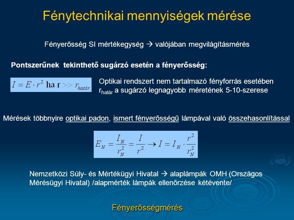 Fénytechnikai mennyiségek mérése Fényerősségmérés Fényerősség SI mértékegység  valójában megvilágításmérés Pontszerűnek tekinthető sugárzó esetén a f