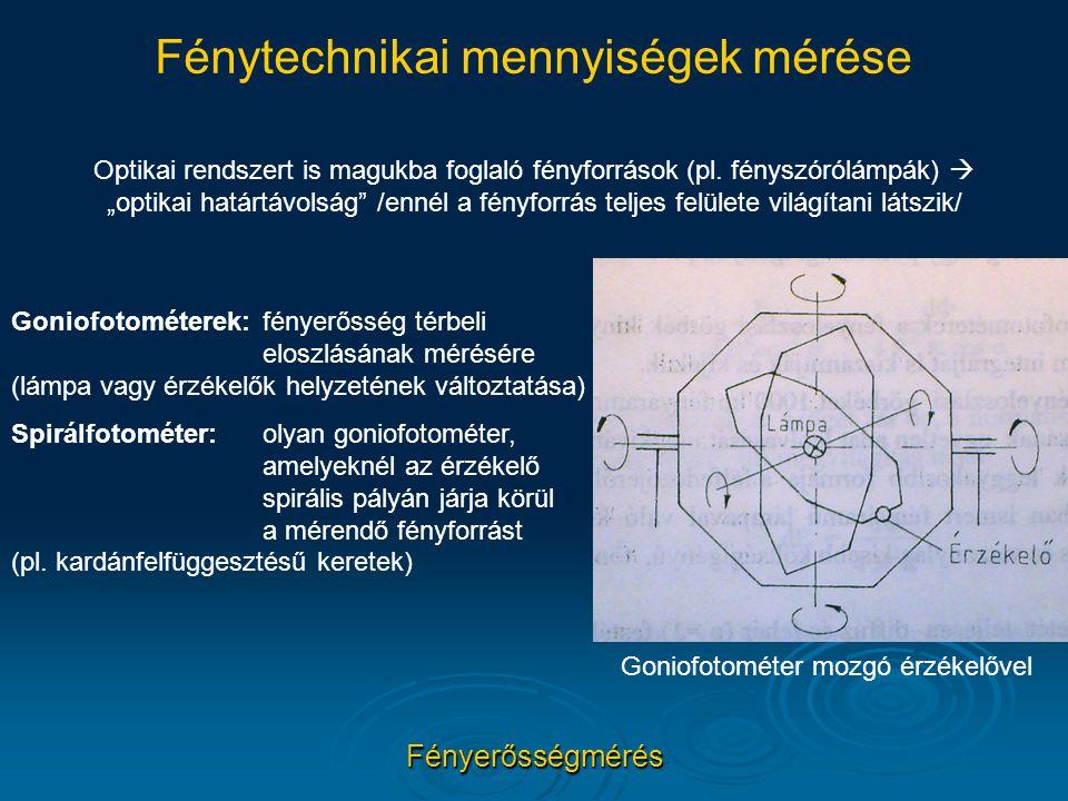 """Fénytechnikai mennyiségek mérése Fényerősségmérés Optikai rendszert is magukba foglaló fényforrások (pl. fényszórólámpák)  """"optikai határtávolság"""" /e"""
