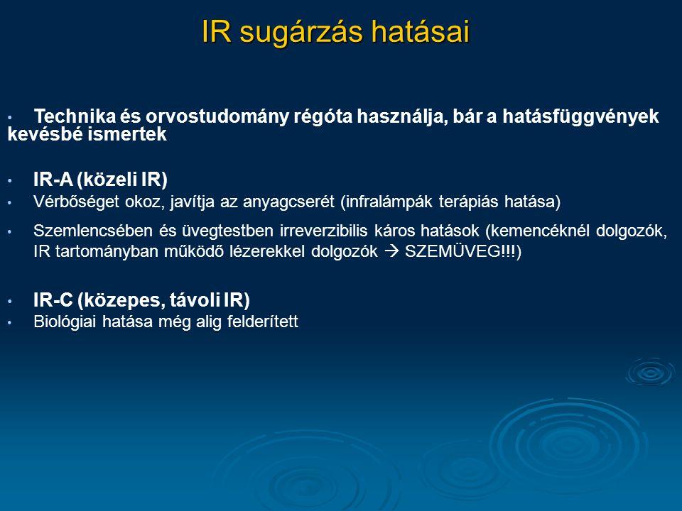 IR sugárzás hatásai Technika és orvostudomány régóta használja, bár a hatásfüggvények kevésbé ismertek IR-A (közeli IR) Vérbőséget okoz, javítja az an