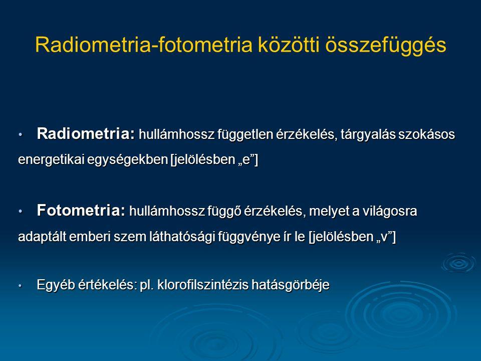 """Radiometria: hullámhossz független érzékelés, tárgyalás szokásos energetikai egységekben [jelölésben """"e""""] Radiometria: hullámhossz független érzékelés"""