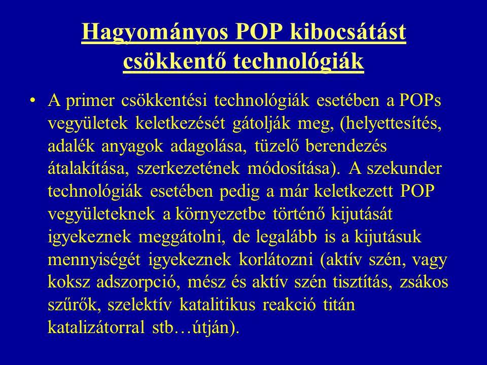 Hagyományos POP kibocsátást csökkentő technológiák A primer csökkentési technológiák esetében a POPs vegyületek keletkezését gátolják meg, (helyettesítés, adalék anyagok adagolása, tüzelő berendezés átalakítása, szerkezetének módosítása).