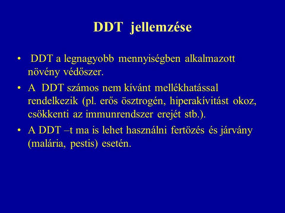 DDT jellemzése DDT a legnagyobb mennyiségben alkalmazott növény védőszer.