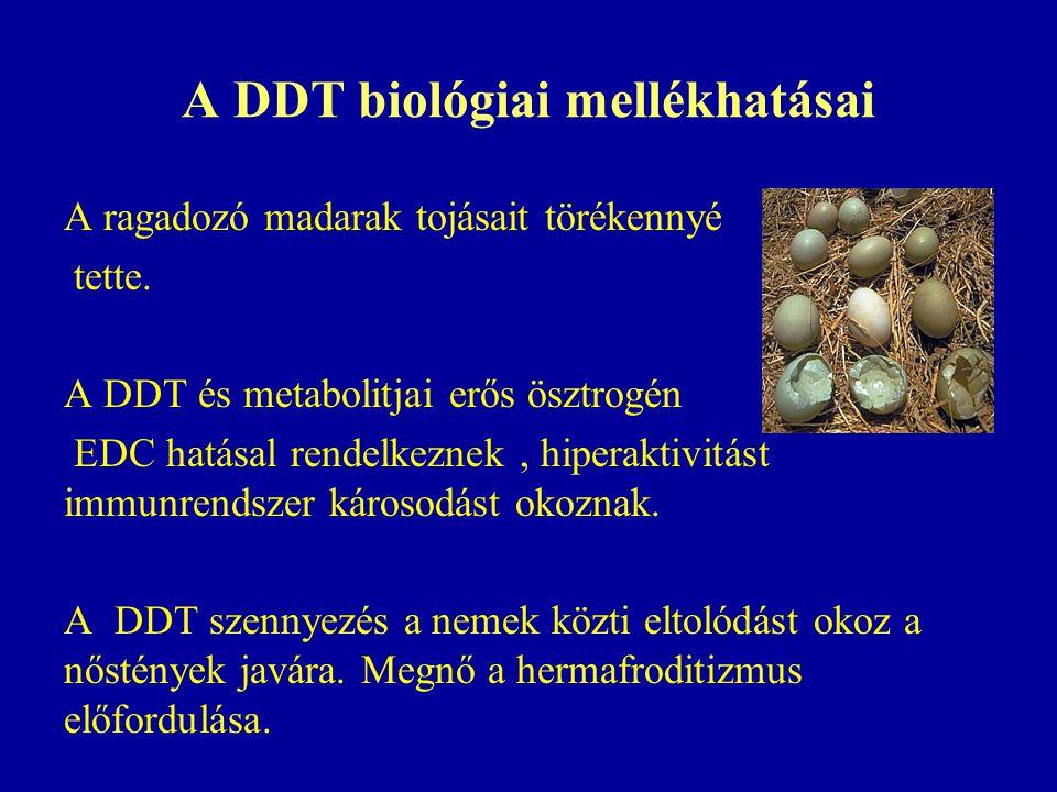A DDT biológiai mellékhatásai A ragadozó madarak tojásait törékennyé tette.
