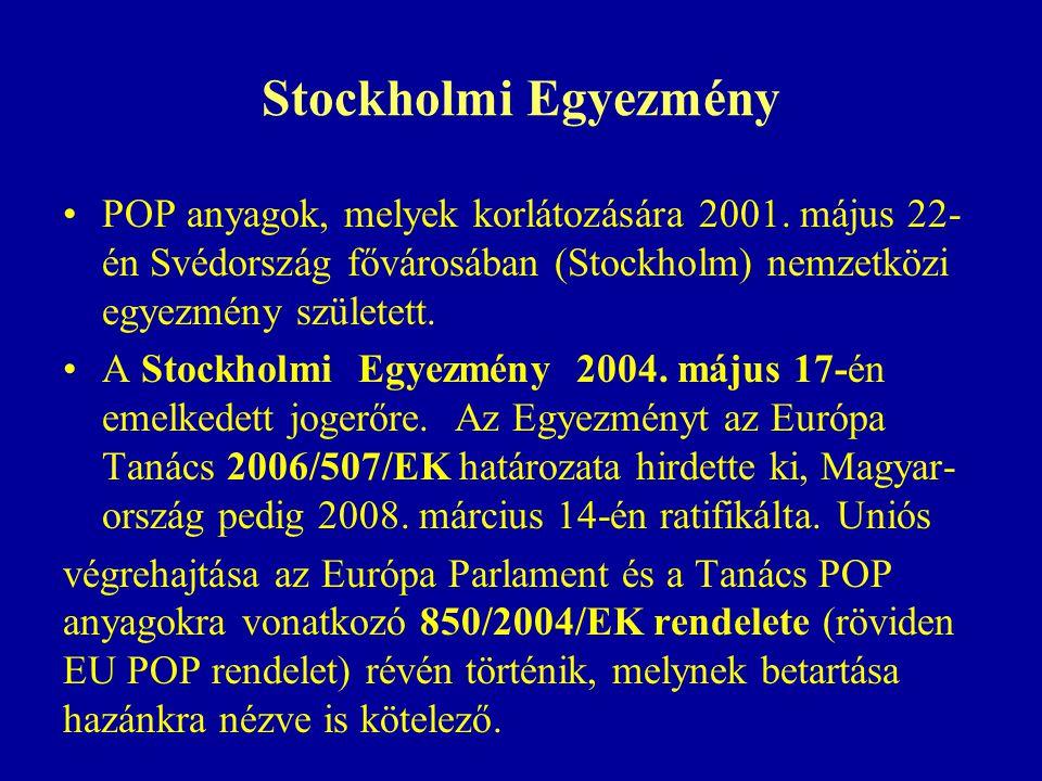 Stockholmi Egyezmény POP anyagok, melyek korlátozására 2001.