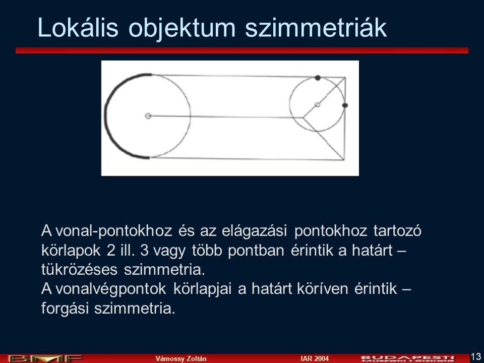Vámossy Zoltán IAR 2004 13 Lokális objektum szimmetriák A vonal-pontokhoz és az elágazási pontokhoz tartozó körlapok 2 ill. 3 vagy több pontban érinti