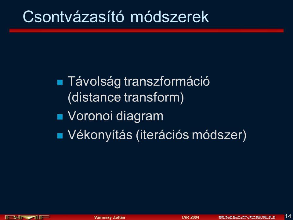 Vámossy Zoltán IAR 2004 14 Csontvázasító módszerek n Távolság transzformáció (distance transform) n Voronoi diagram n Vékonyítás (iterációs módszer)