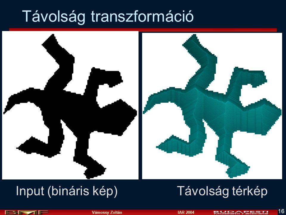 Vámossy Zoltán IAR 2004 16 Input (bináris kép) Távolság térkép Távolság transzformáció