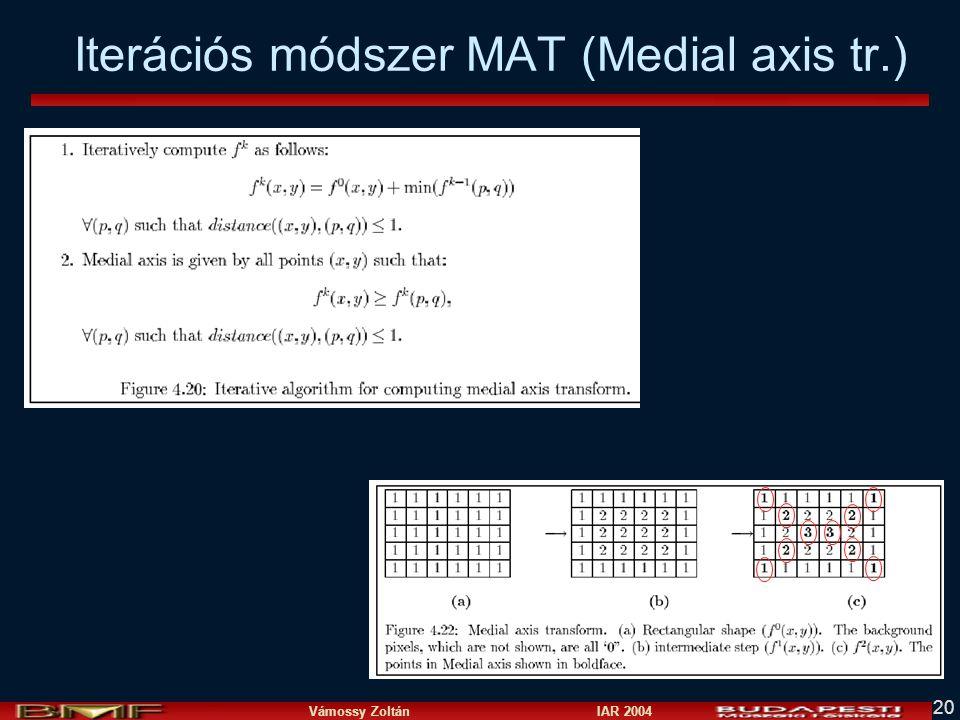 Vámossy Zoltán IAR 2004 20 Iterációs módszer MAT (Medial axis tr.)