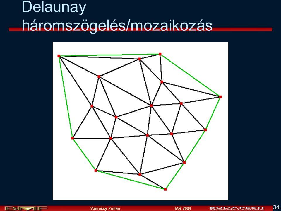 Vámossy Zoltán IAR 2004 34 Delaunay háromszögelés/mozaikozás