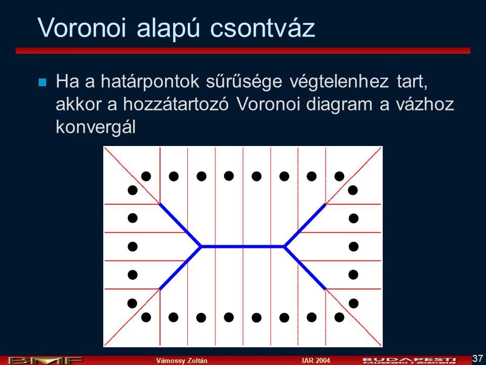 Vámossy Zoltán IAR 2004 37 Voronoi alapú csontváz n Ha a határpontok sűrűsége végtelenhez tart, akkor a hozzátartozó Voronoi diagram a vázhoz konvergá