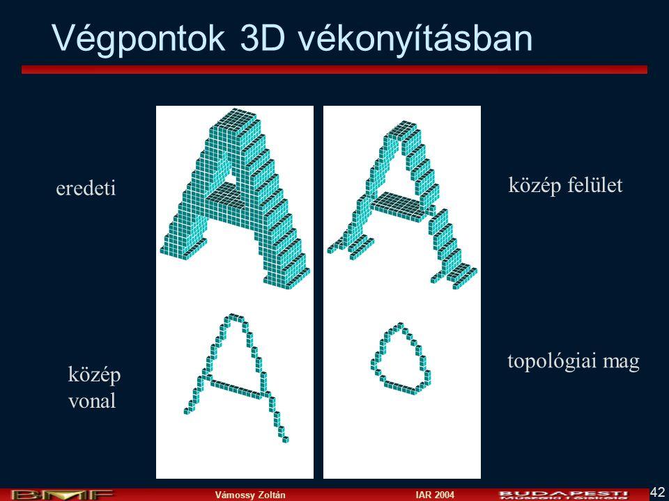 Vámossy Zoltán IAR 2004 42 eredeti közép felület közép vonal topológiai mag Végpontok 3D vékonyításban