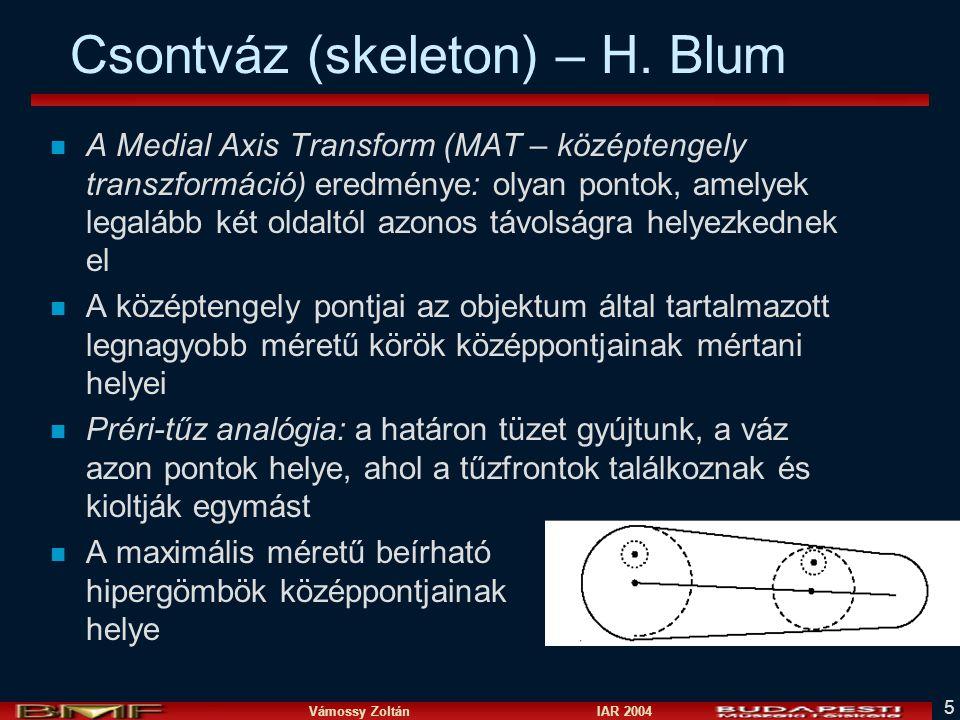 Vámossy Zoltán IAR 2004 5 Csontváz (skeleton) – H. Blum n A Medial Axis Transform (MAT – középtengely transzformáció) eredménye: olyan pontok, amelyek