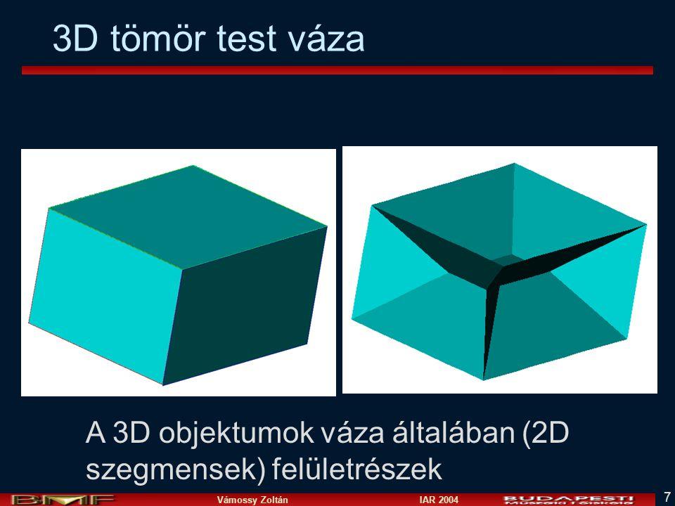Vámossy Zoltán IAR 2004 7 3D tömör test váza A 3D objektumok váza általában (2D szegmensek) felületrészek