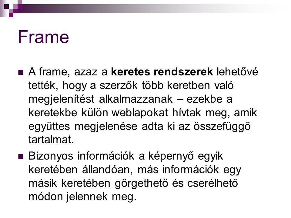 Frame A frame, azaz a keretes rendszerek lehetővé tették, hogy a szerzők több keretben való megjelenítést alkalmazzanak – ezekbe a keretekbe külön weblapokat hívtak meg, amik együttes megjelenése adta ki az összefüggő tartalmat.