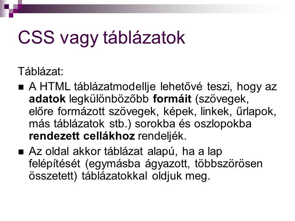 CSS vagy táblázatok Táblázat: A HTML táblázatmodellje lehetővé teszi, hogy az adatok legkülönbözőbb formáit (szövegek, előre formázott szövegek, képek, linkek, űrlapok, más táblázatok stb.) sorokba és oszlopokba rendezett cellákhoz rendeljék.