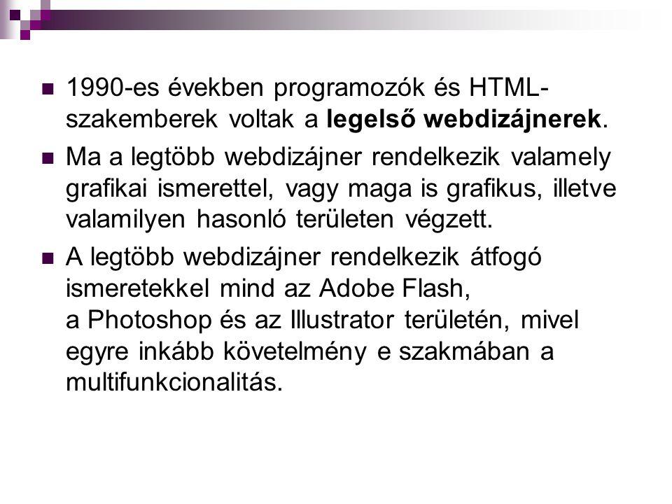 1990-es években programozók és HTML- szakemberek voltak a legelső webdizájnerek.