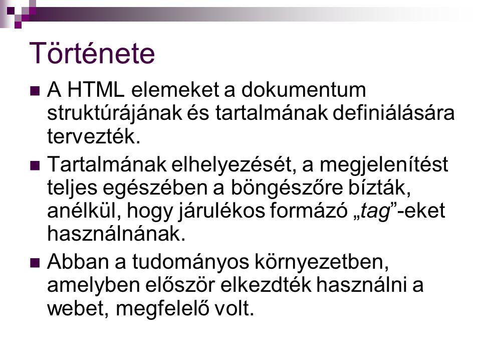 Története A HTML elemeket a dokumentum struktúrájának és tartalmának definiálására tervezték.