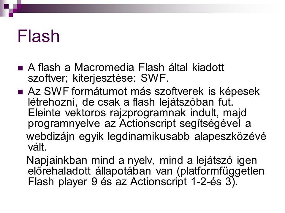 Flash A flash a Macromedia Flash által kiadott szoftver; kiterjesztése: SWF.