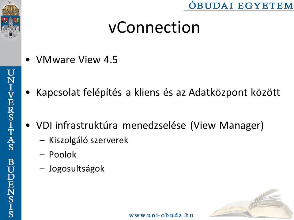 vConnection VMware View 4.5 Kapcsolat felépítés a kliens és az Adatközpont között VDI infrastruktúra menedzselése (View Manager) –Kiszolgáló szerverek –Poolok –Jogosultságok