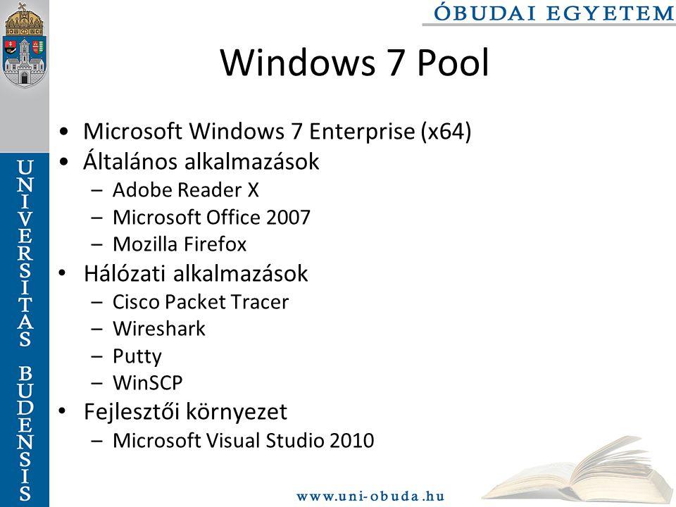 Windows 7 Pool Microsoft Windows 7 Enterprise (x64) Általános alkalmazások –Adobe Reader X –Microsoft Office 2007 –Mozilla Firefox Hálózati alkalmazások –Cisco Packet Tracer –Wireshark –Putty –WinSCP Fejlesztői környezet –Microsoft Visual Studio 2010