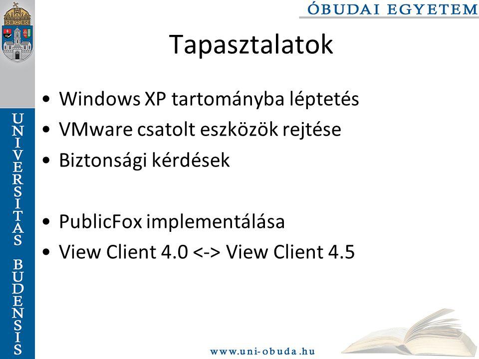 Tapasztalatok Windows XP tartományba léptetés VMware csatolt eszközök rejtése Biztonsági kérdések PublicFox implementálása View Client 4.0 View Client 4.5