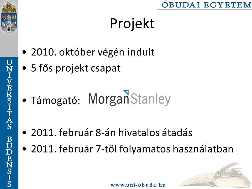 Projekt 2010.október végén indult 5 fős projekt csapat Támogató: 2011.
