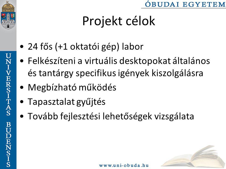 Projekt célok 24 fős (+1 oktatói gép) labor Felkészíteni a virtuális desktopokat általános és tantárgy specifikus igények kiszolgálásra Megbízható működés Tapasztalat gyűjtés Tovább fejlesztési lehetőségek vizsgálata