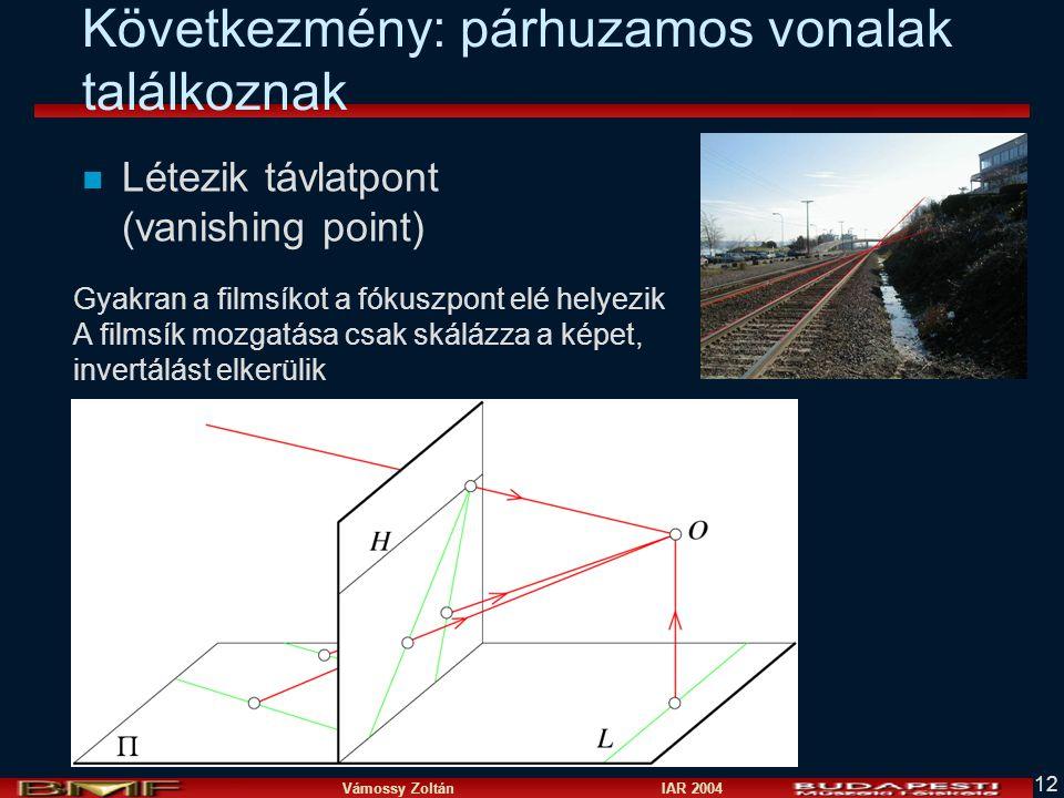 Vámossy Zoltán IAR 2004 12 Következmény: párhuzamos vonalak találkoznak n Létezik távlatpont (vanishing point) Gyakran a filmsíkot a fókuszpont elé helyezik A filmsík mozgatása csak skálázza a képet, invertálást elkerülik