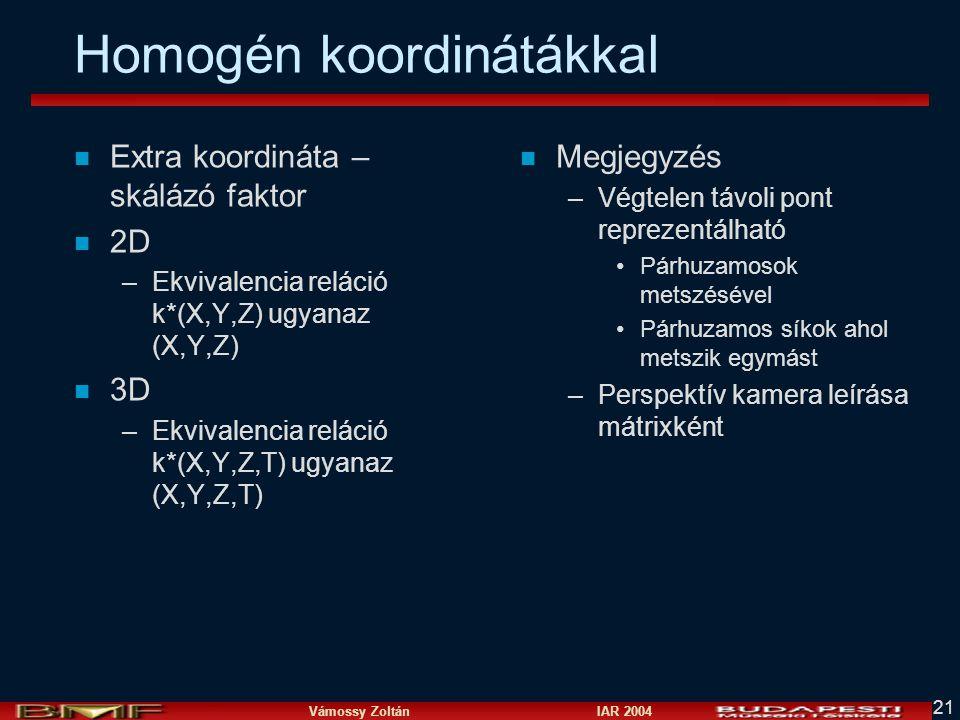Vámossy Zoltán IAR 2004 21 Homogén koordinátákkal n Extra koordináta – skálázó faktor n 2D –Ekvivalencia reláció k*(X,Y,Z) ugyanaz (X,Y,Z) n 3D –Ekvivalencia reláció k*(X,Y,Z,T) ugyanaz (X,Y,Z,T) n Megjegyzés –Végtelen távoli pont reprezentálható Párhuzamosok metszésével Párhuzamos síkok ahol metszik egymást –Perspektív kamera leírása mátrixként