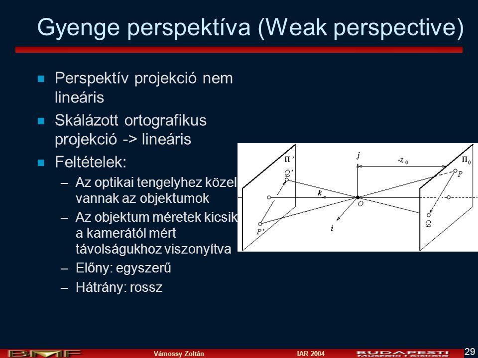 Vámossy Zoltán IAR 2004 29 Gyenge perspektíva (Weak perspective) n Perspektív projekció nem lineáris n Skálázott ortografikus projekció -> lineáris n Feltételek: –Az optikai tengelyhez közel vannak az objektumok –Az objektum méretek kicsik a kamerától mért távolságukhoz viszonyítva –Előny: egyszerű –Hátrány: rossz