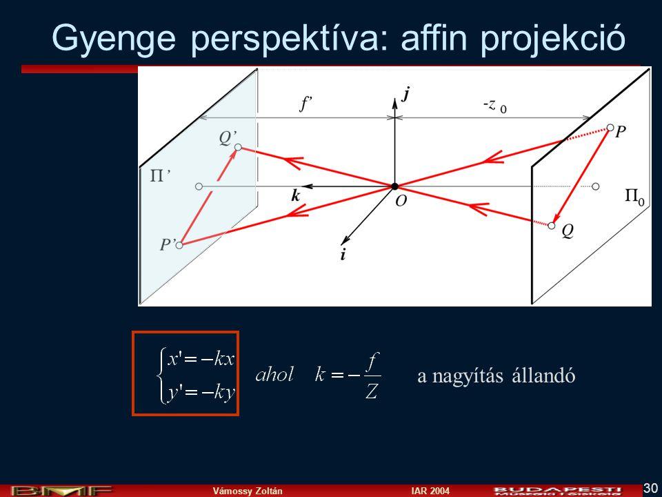 Vámossy Zoltán IAR 2004 30 a nagyítás állandó Gyenge perspektíva: affin projekció