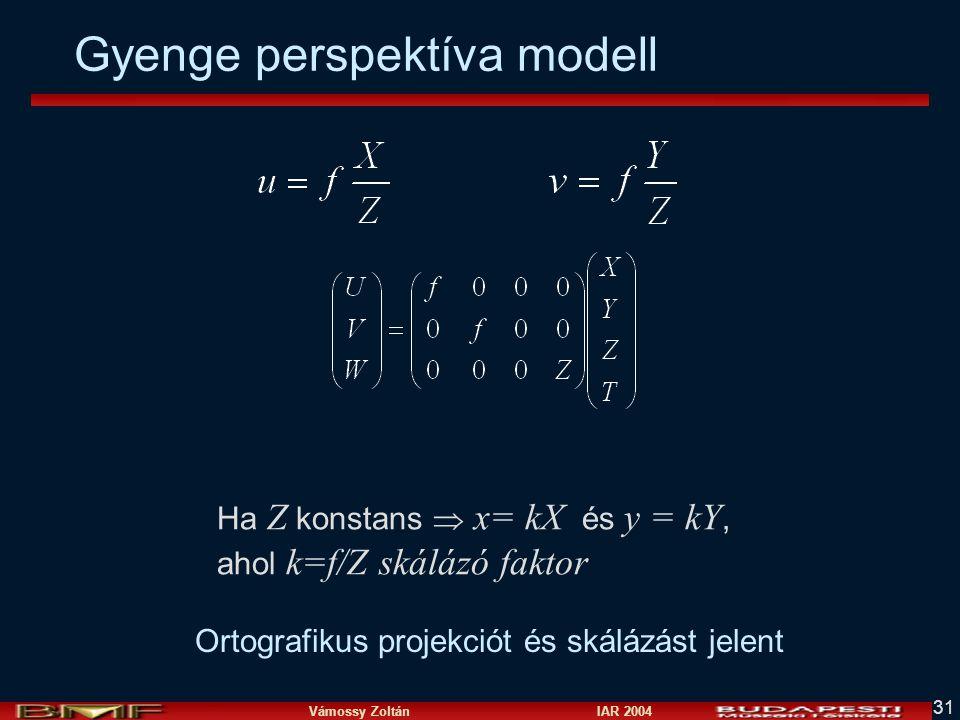 Vámossy Zoltán IAR 2004 31 Ha Z konstans  x= kX és y = kY, ahol k=f/Z skálázó faktor Ortografikus projekciót és skálázást jelent Gyenge perspektíva modell