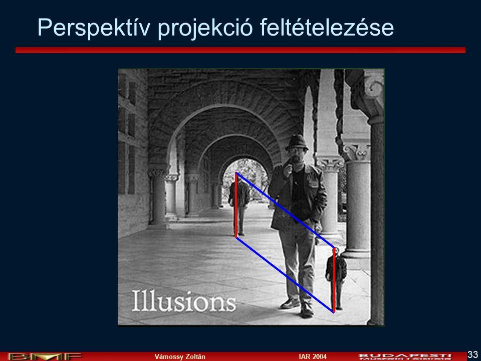 Vámossy Zoltán IAR 2004 33 Perspektív projekció feltételezése