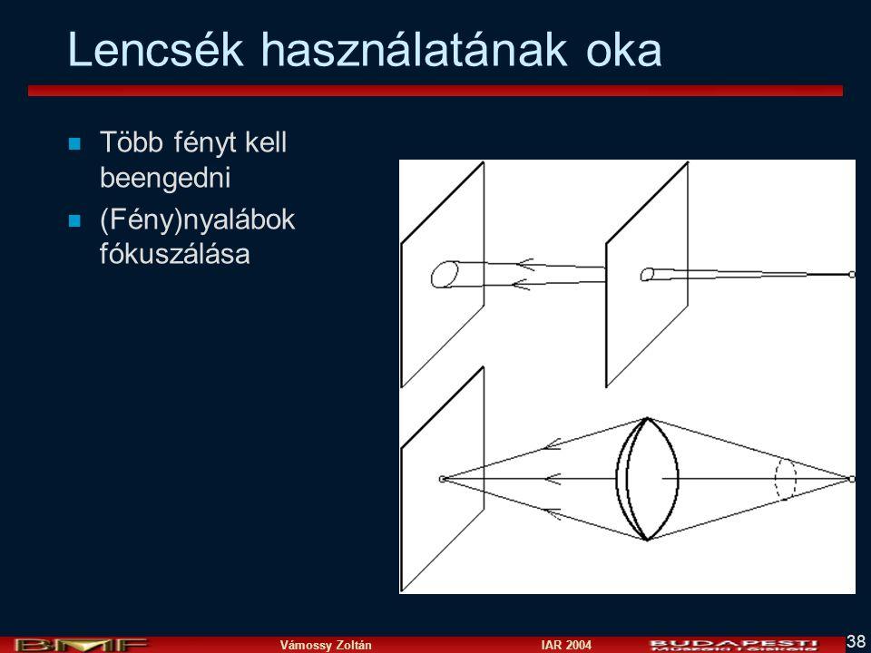 Vámossy Zoltán IAR 2004 38 Lencsék használatának oka n Több fényt kell beengedni n (Fény)nyalábok fókuszálása