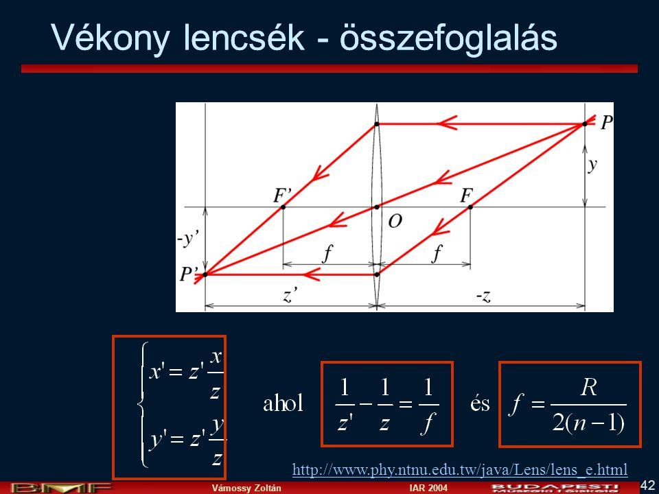 Vámossy Zoltán IAR 2004 42 http://www.phy.ntnu.edu.tw/java/Lens/lens_e.html Vékony lencsék - összefoglalás