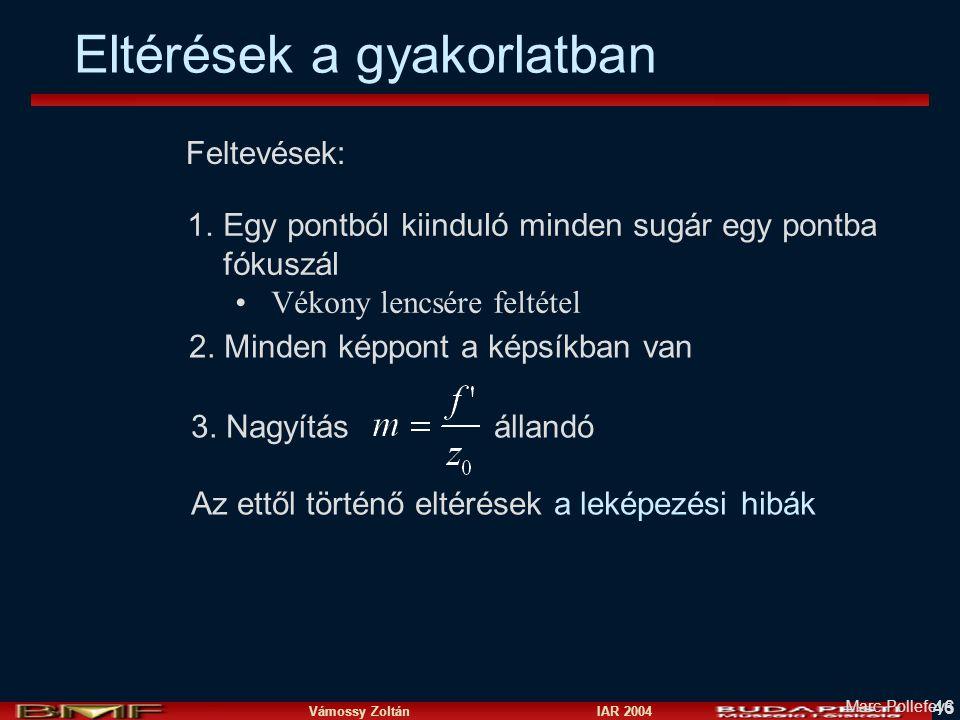 Vámossy Zoltán IAR 2004 46 Feltevések: 1.Egy pontból kiinduló minden sugár egy pontba fókuszál Vékony lencsére feltétel 2.