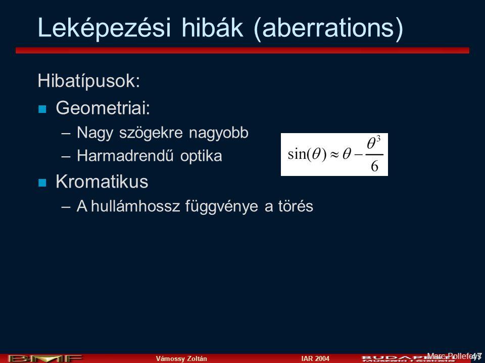 Vámossy Zoltán IAR 2004 47 Marc Pollefeys Leképezési hibák (aberrations) Hibatípusok: n Geometriai: –Nagy szögekre nagyobb –Harmadrendű optika n Kromatikus –A hullámhossz függvénye a törés