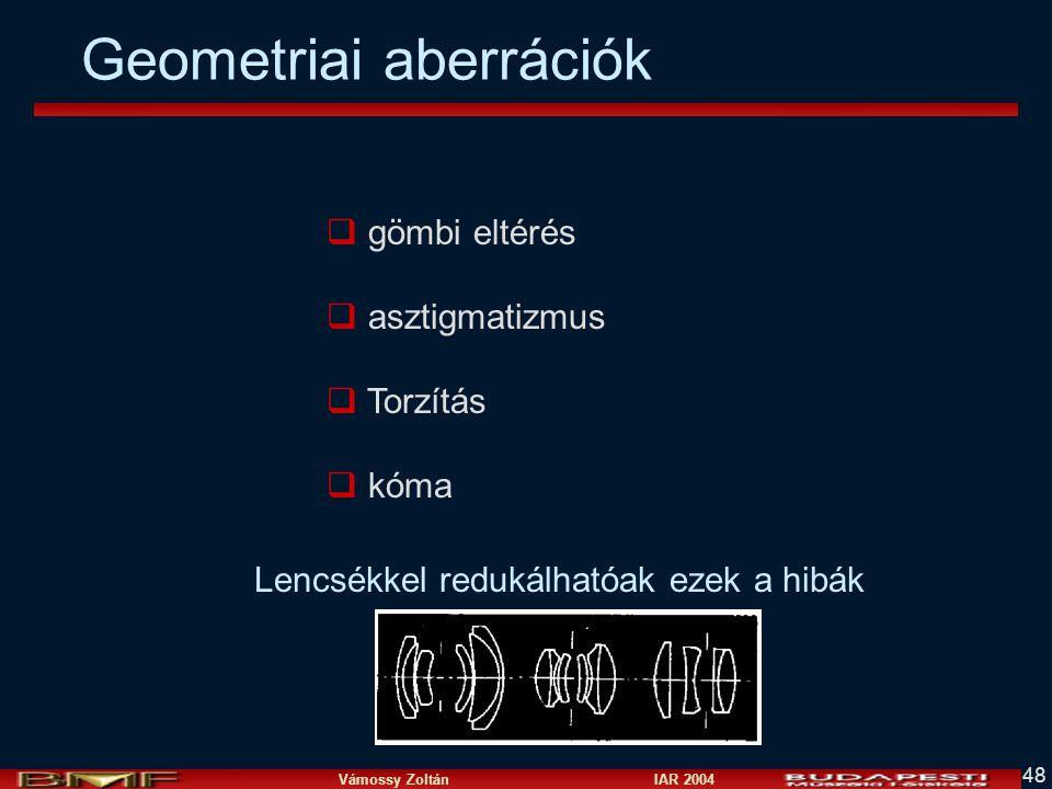 Vámossy Zoltán IAR 2004 48 q gömbi eltérés q asztigmatizmus q Torzítás q kóma Lencsékkel redukálhatóak ezek a hibák Geometriai aberrációk